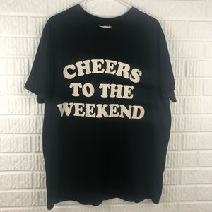 'Cheers to the Weekend' black short sleeve t-shirt